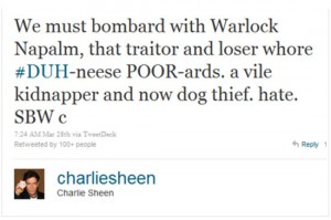 charlie sheen idiot napalm worst celebrity tweets denise richards