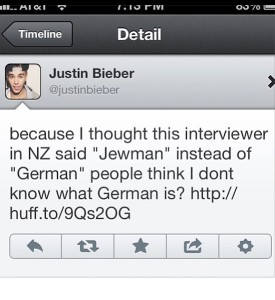 justin bieber worst celebrity tweets jewman german